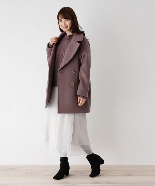 ピーコート×スカートの服装