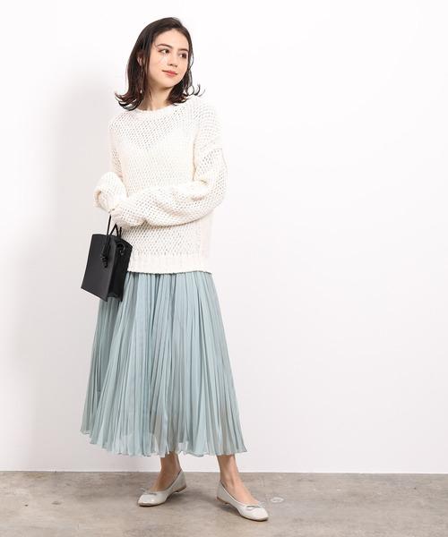 [ROPE'] 【新色】シフォンジーランダムプリーツスカート