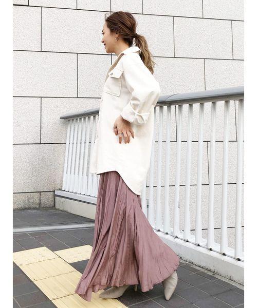 マキシスカート×シャツコーデ