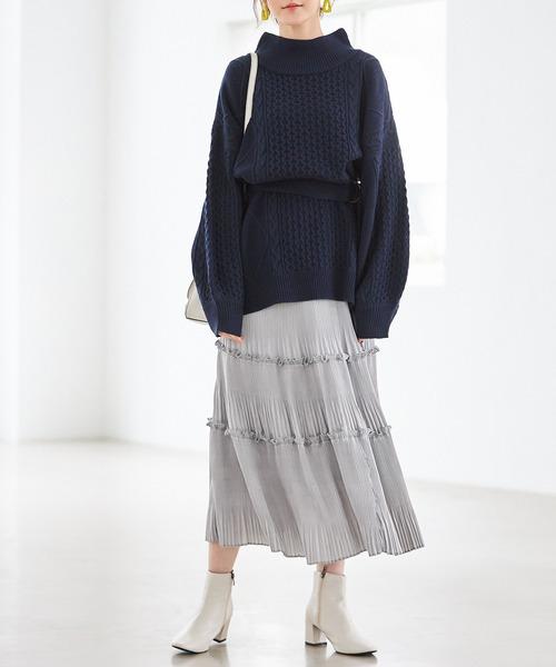 [tocco closet] 消しプリーツティアードマットサテンスカート