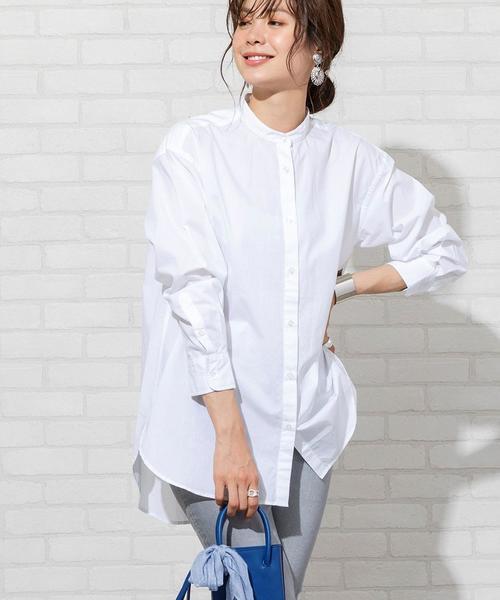 [coen] ブロードバンドカラーロングシャツ(バンドカラーシャツ)#