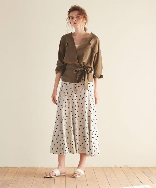 [titivate] リネン混ドット柄フレアロングスカート