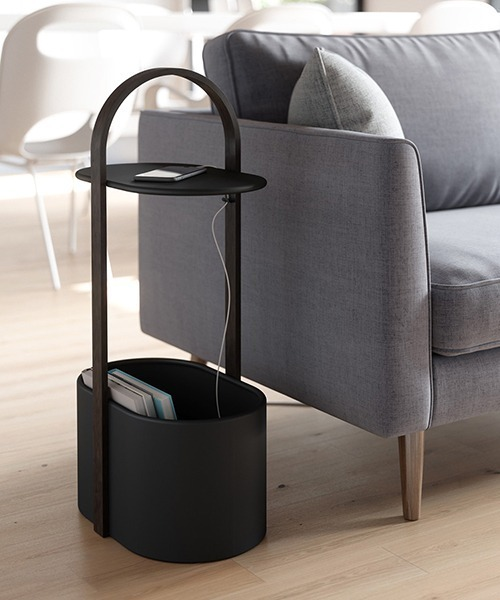 [entre square] umbra/ハブ ストレージテーブル ブラック×ウォルナットウッド