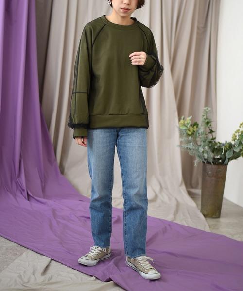 緑チュールTシャツ+デニムパンツの冬コーデ