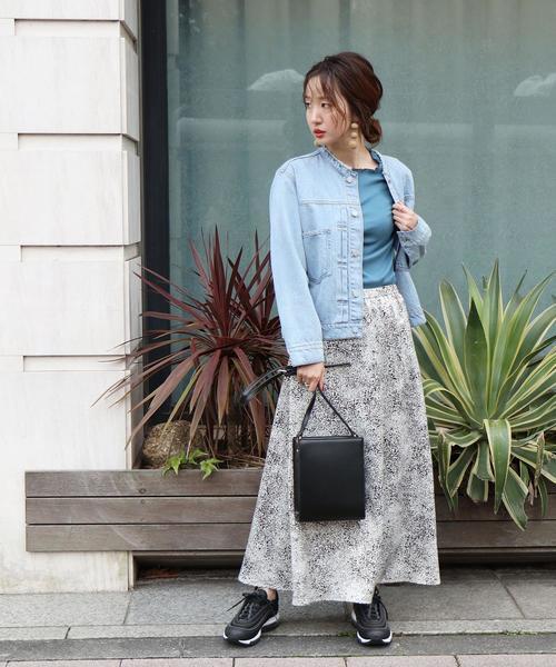 [coen] 【WEB限定カラー】プリントサテンロングスカート(サテンスカート/プリントスカート)#