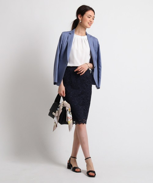 [INDIVI] [S]【ママスーツ/入学式 スーツ/卒業式 スーツ】ジャカードレースタイトスカート