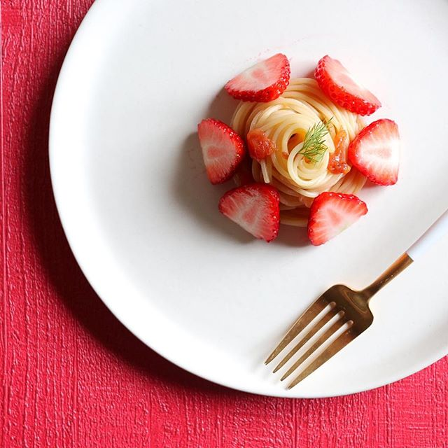 おすすめレシピ!イチゴケーキ風冷製パスタ