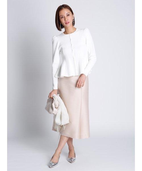 白ペプラムカーディガン×スカートの秋コーデ