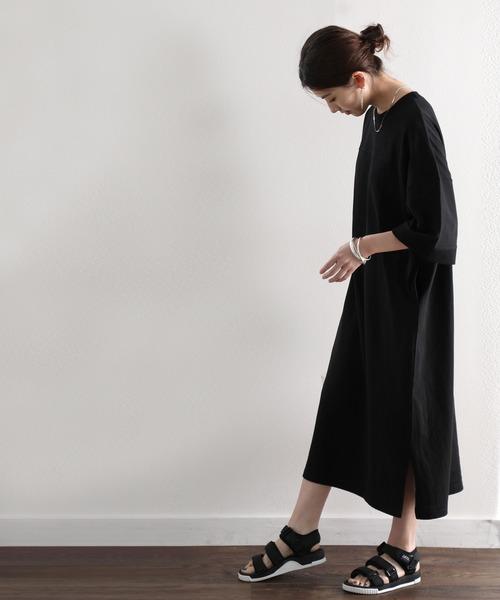 [Classical Elf] ヘビーウェイト ロング丈無地コットンビッグフレアワンピース(半袖)