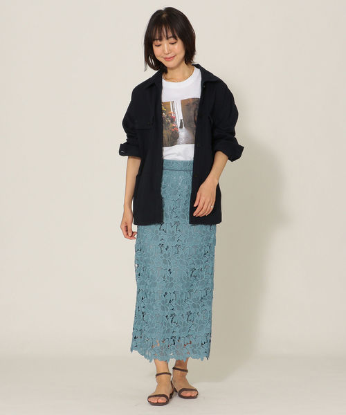 [SHIPS for women] SHIPS any:レースタイトスカート◇