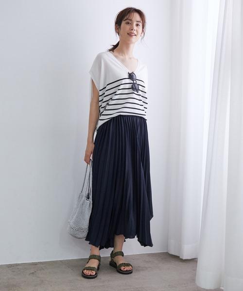 [ROPE'] アシンメトリープリーツスカート