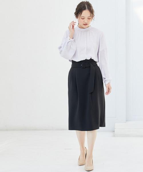 [ViS] 【EASY CARE】ハイウエストベルト付きタイトスカート
