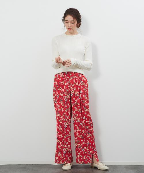 [Rouge vif la cle] フレンチフラワープリントワイドパンツ