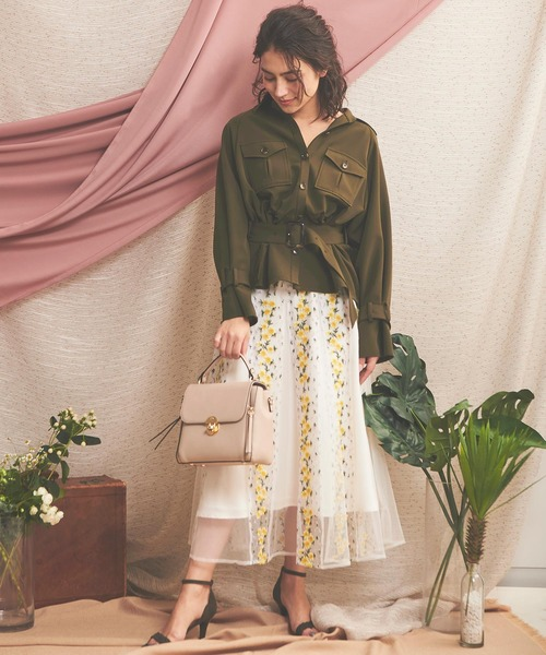 [Noela] フラワー刺繍チュールスカート