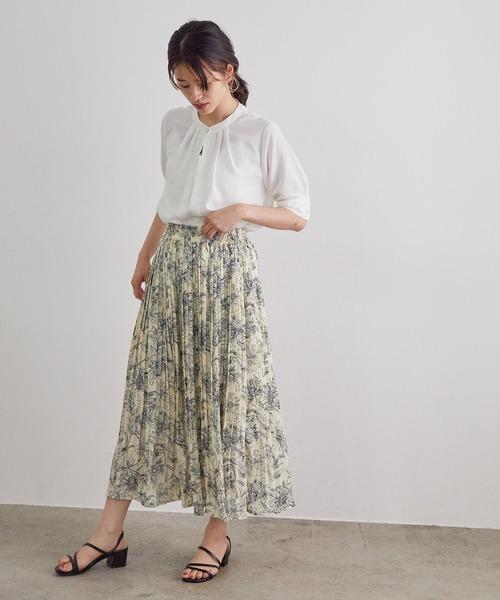 [ViS] 線花柄ジョーゼットプリーツスカート