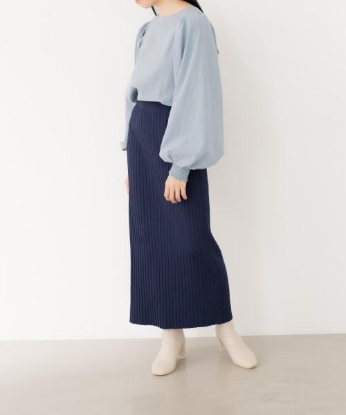 [LOWRYS FARM] 【WEB限定】ニットプリーツタイトスカート 875007