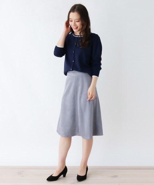 [SOUP] 【大きいサイズあり・13号・15号】スエード調ミモレフレアスカート