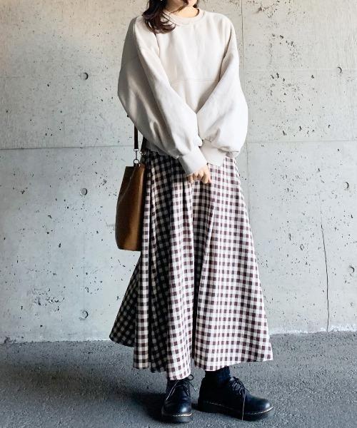 [AZUL ENCANTO] 【洗濯機で洗える】【静電気 軽減効果】チェック柄タックフレアースカート