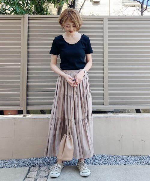 [AZUL ENCANTO] 【洗濯機で洗える】【消臭効果】ティアードロングスカート