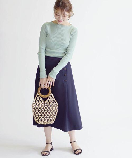 [SHIPS for women] ボタンアシンメトリースカート◇