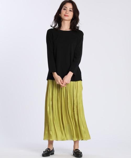 [CLEAR IMPRESSION] 割繊サテンプリーツスカート