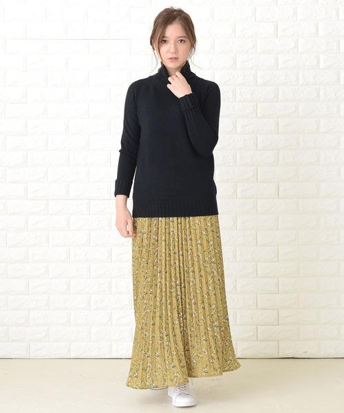 [Lace Ladies] フラワーシフォンプリーツロングスカート