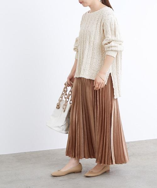 コットンプルオーバー×プリーツスカート