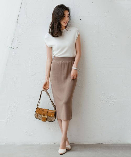 [SAISON DE PAPILLON] 【接触冷感】【ミモレ丈】サマーニットタイトスカート