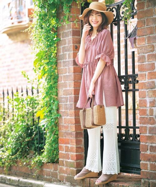 [GeeRA] 【20夏新着】透かし編ニットワイドパンツ