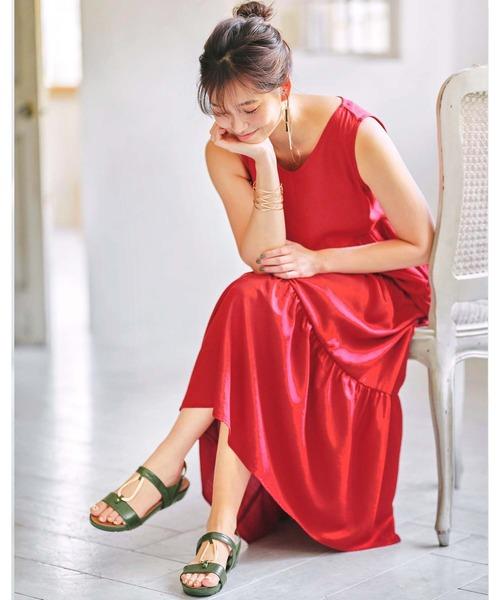 [GeeRA] 【20夏新着】リネン風ティアードワンピース