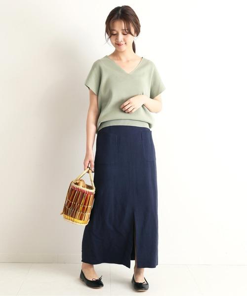 [IENA] リネン混サイドポケットタイトスカート◆