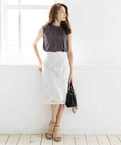 [12Twelve Agenda] スカラップレースタイトスカート