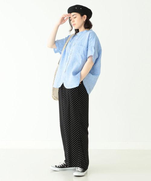 [BEAMS WOMEN] BEAMS BOY / リネン スタンドカラー ショートスリーブ シャツ