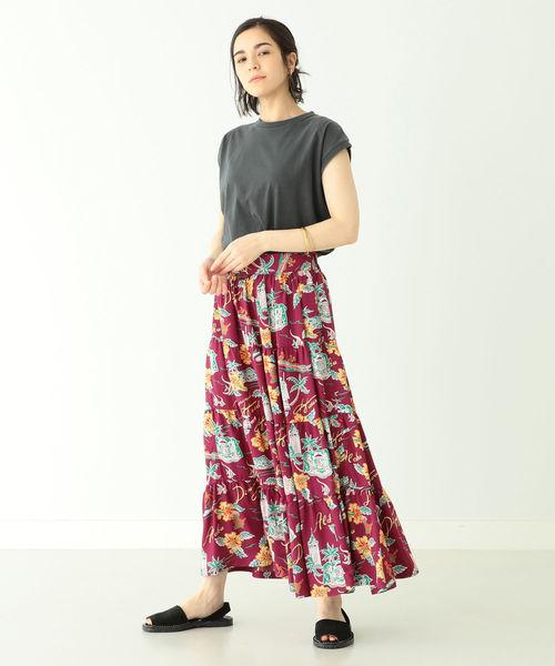 [BEAMS WOMEN] SUN SURF × BEAMS BOY / 別注 ハワイアン ティアード スカート