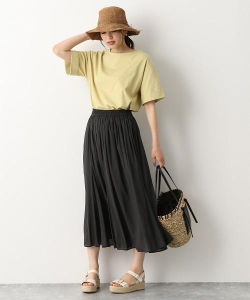 コットンビッグTシャツ×ギャザースカート