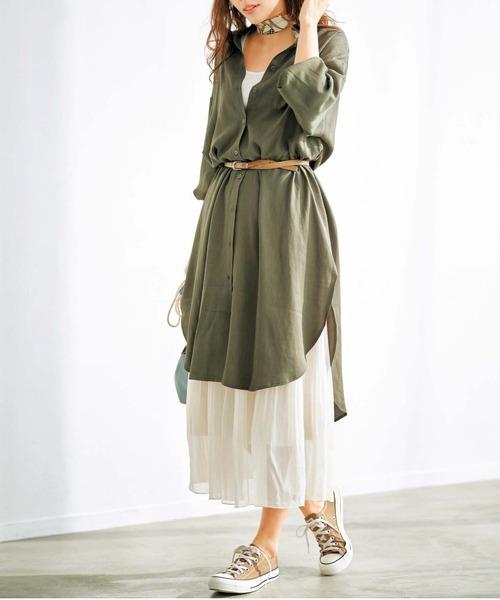 10月中旬の服装|カーキシャツワンピ×ロングスカート
