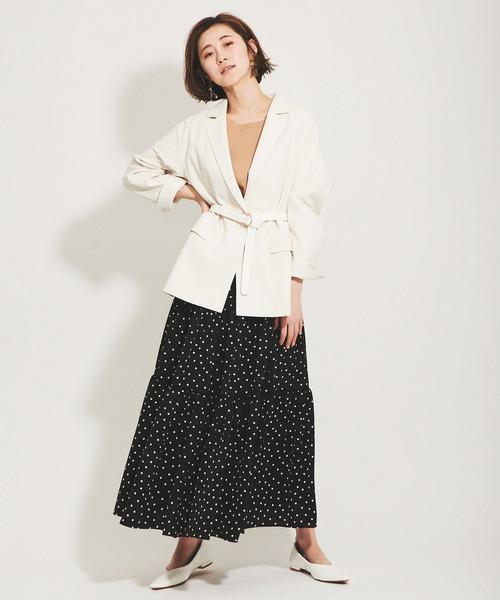 ビッグサイズジャケット×ドット柄スカート