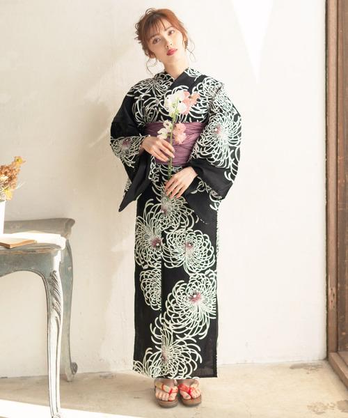 [Dita] 1人で着られる浴衣5点セット 和歌山染工日本染め(ゆかた・しわへこ帯・下駄・着付け本・腰ひも)【K】