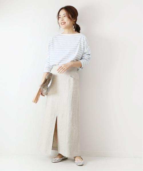 長袖Tシャツ×ロングスカートの秋コーデ