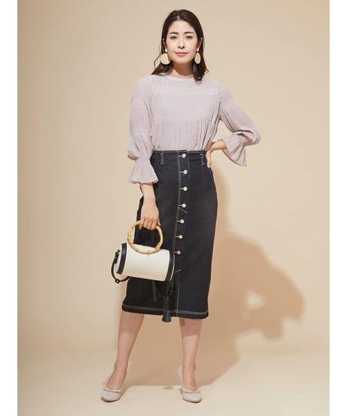 [Ailand] ブラスト加工ペンシルデニム釦タイトスカート