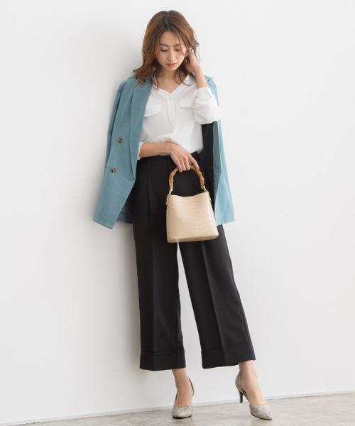 [Pierrot] 裾ダブルセンタープレスパンツ