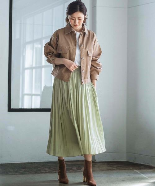 ざっくりジージャン×プリーツスカート