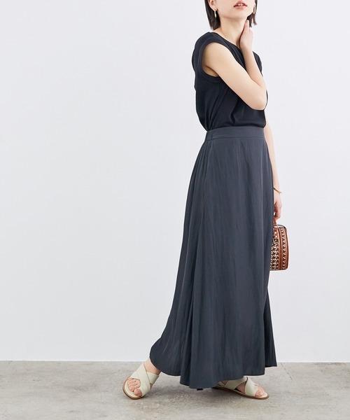 [ROPE'] 【WEB限定】【洗える】サテンマキシスカート