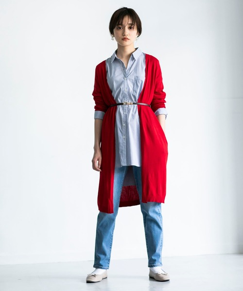 ロングカーデ×パンツの服装
