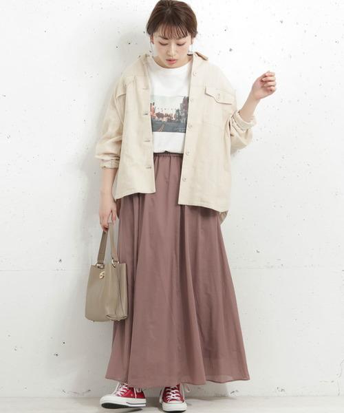 マキシスカート×CPOシャツコーデ