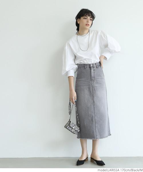 [coca] ウォッシュ加工ブラックデニムストレートスカート
