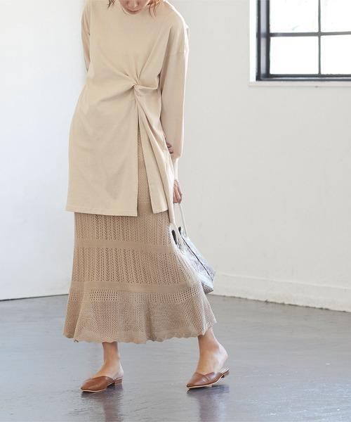 ツイストロングトップス×透かし編みスカート