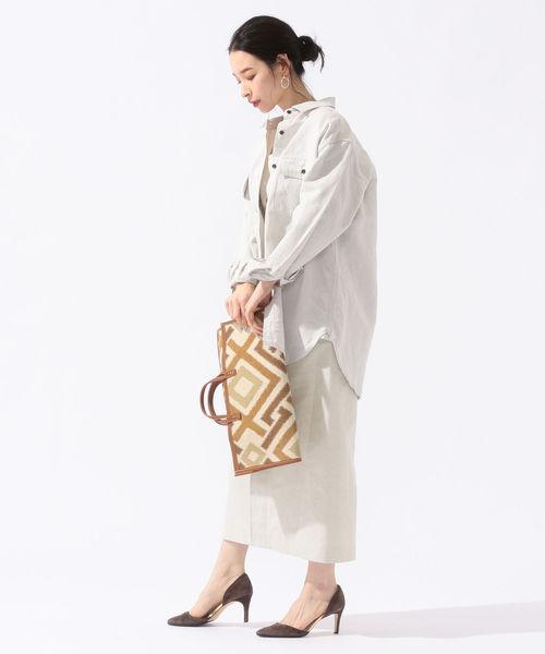 [SHIPS for women] PrimaryNavyLabel:フロントリボンタイトスカート