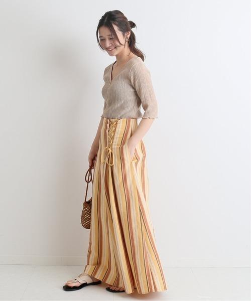 [IENA] リネンレースアップスカート◆