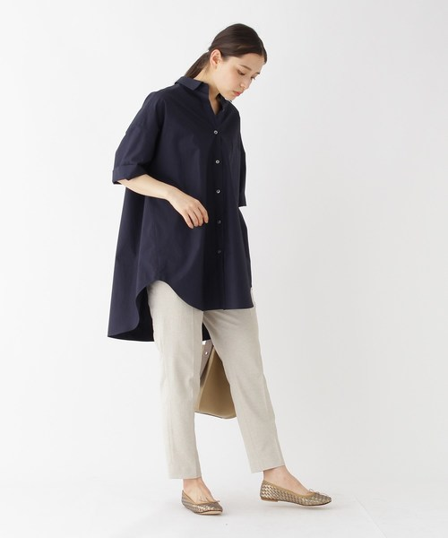 [DRESSTERIOR] 【洗える】抜き衿チュニックシャツ
